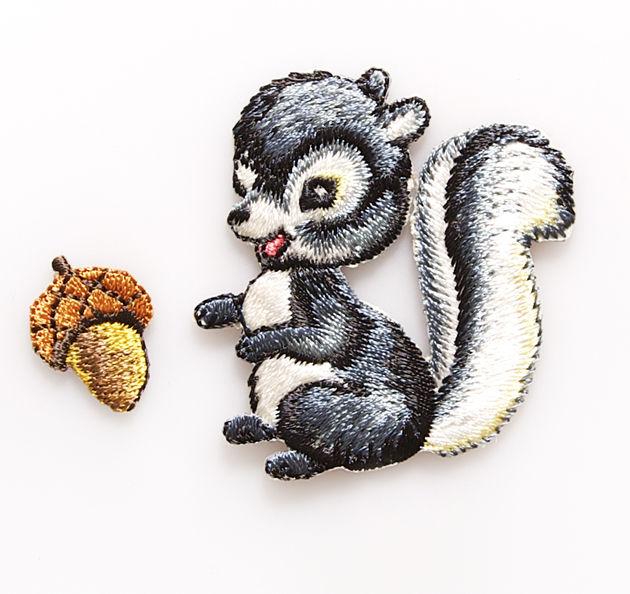 Squirrel and Acorn Embroidered Iron On Patches by Sass and Belle - product image