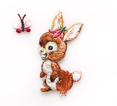 Bunny,and,Butterfly,Embroidered,Iron,On,Patches,by,Sass,Belle,Bunny & Butterfly Embroidered Iron On Patches by Sass & Belle