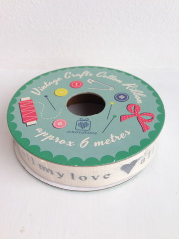 70%,OFF,Vintage,Crafts,Cotton,'All,My,Love',Ribbon,6,metre,spool,by,Rex,International,Vintage Crafts Cotton 'All My Love' Ribbon 6 metre spool by Rex International