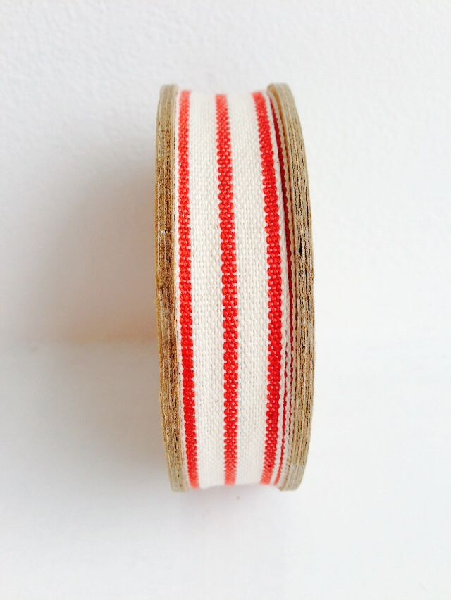 70% OFF Cotton Red and Off White Triple Stripe Ribbon 3 metre spool by East Of India - product images  of