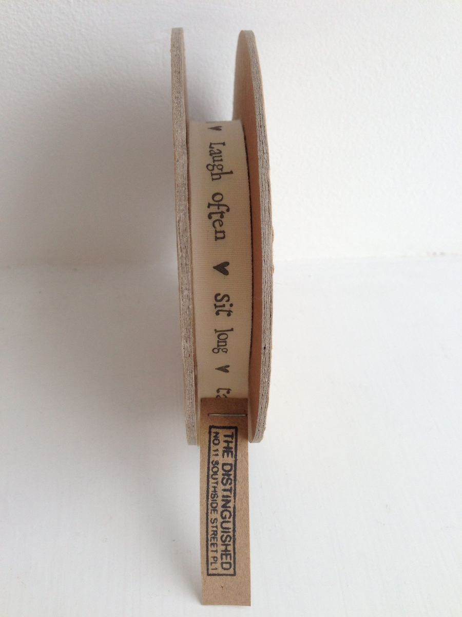 Cotton 'Sit Long, Talk Much, Laugh Often' Ribbon 1 meter by East Of India - product images  of