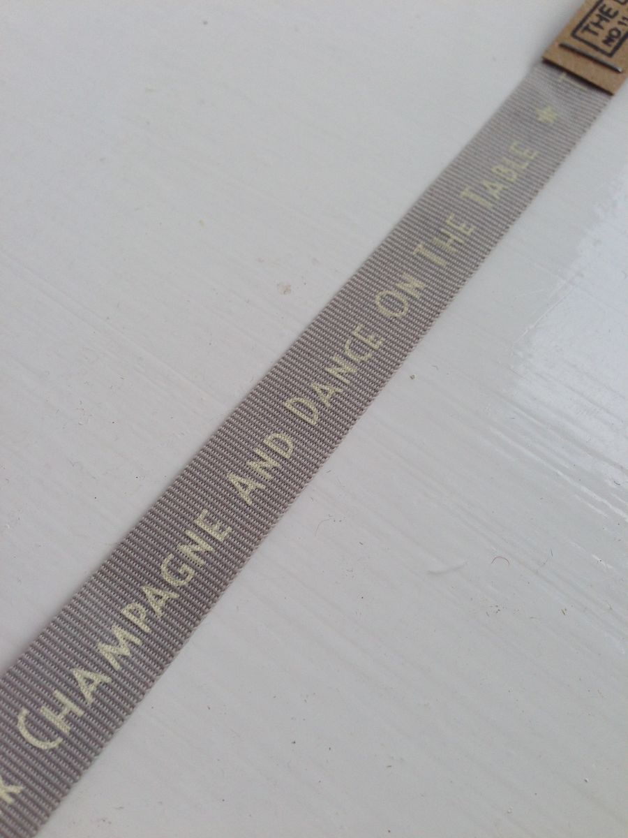Cotton 'Time to Drink Champagne and Dance on the Table' Ribbon 1 meter by East Of India - product images  of