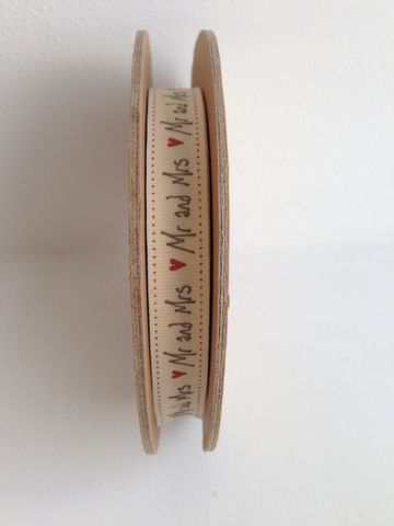 Cotton,White,Handscript,'Mr,and,Mrs',Ribbon,1,meter,by,East,Of,India,Cotton mr and Mrs Ribbon 1 meter by East Of India