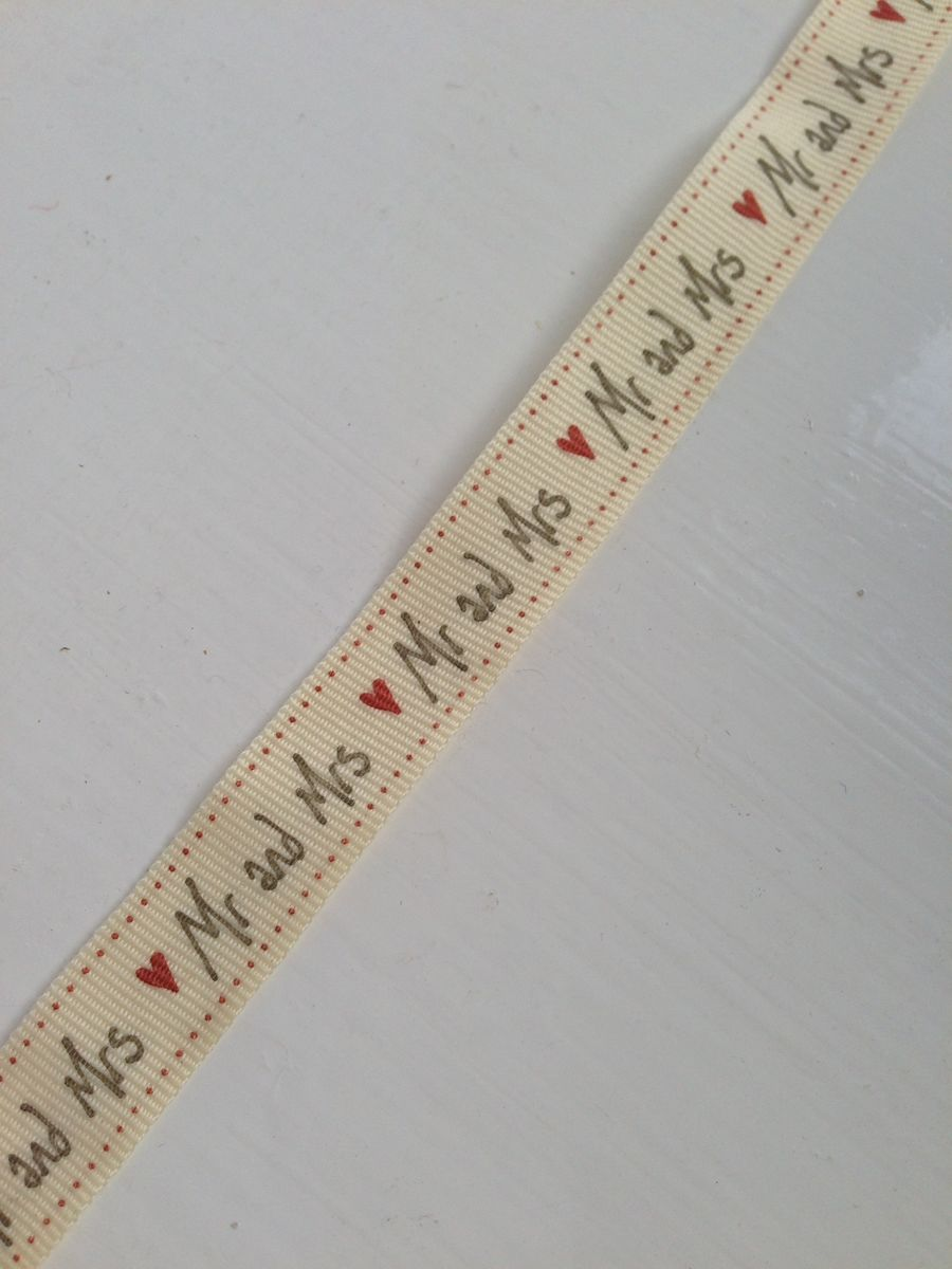 Cotton White Handscript 'Mr and Mrs' Ribbon 1 meter by East Of India - product images  of