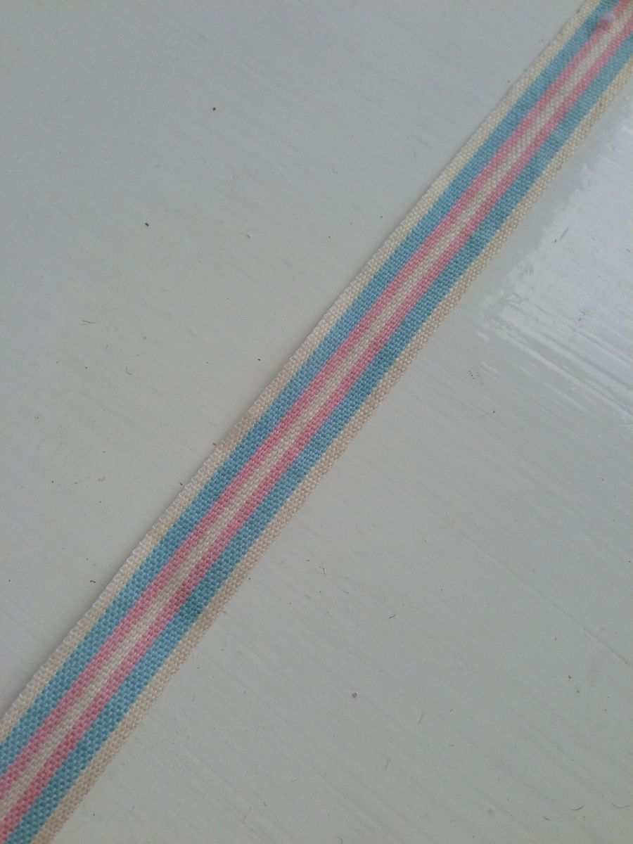 Cotton Pink/Blue Deckchair stripe Ribbon 1 meter by East Of India - product images  of