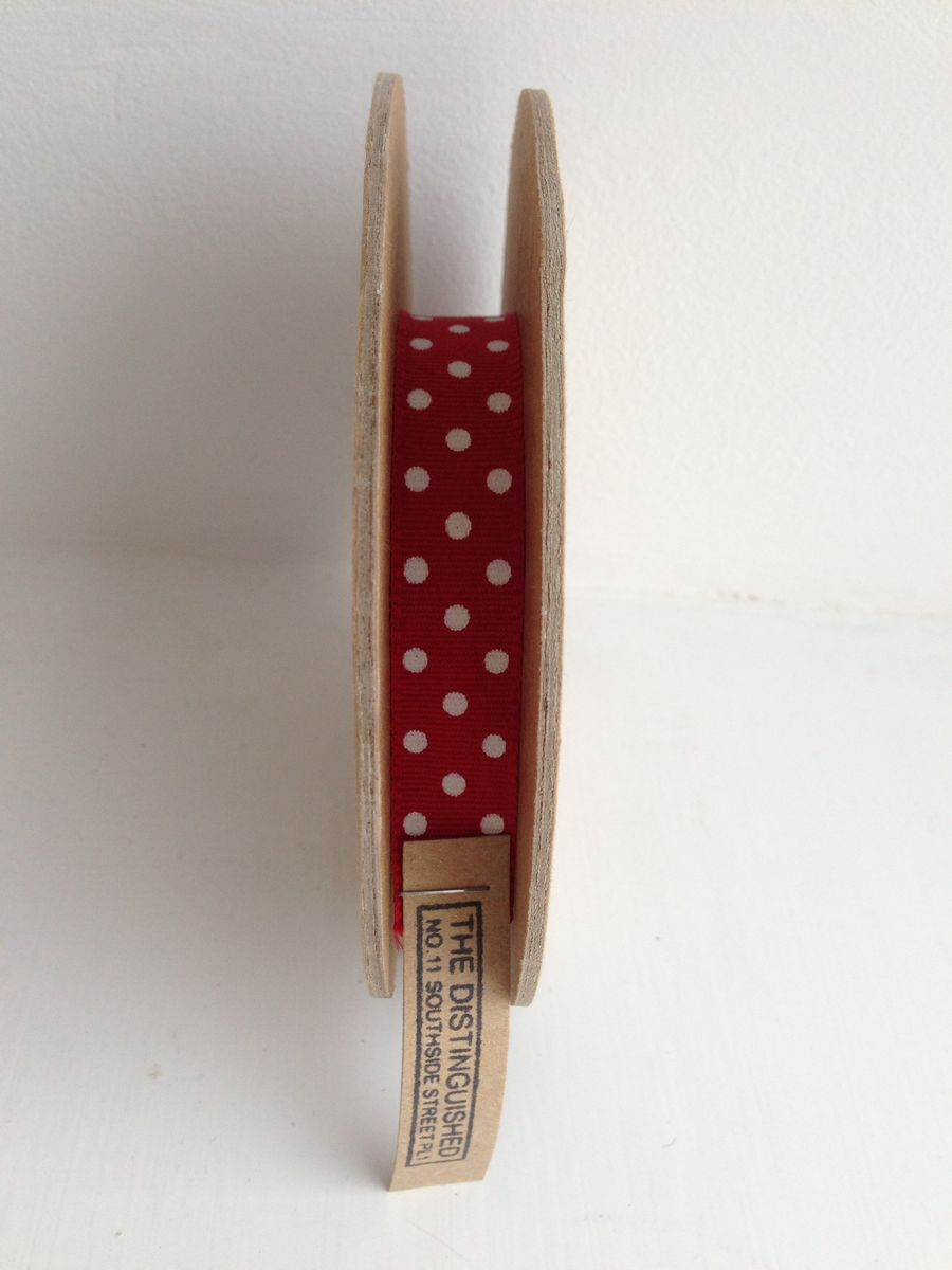 Cotton Red with white spots Ribbon 1 meter by East Of India - product images  of