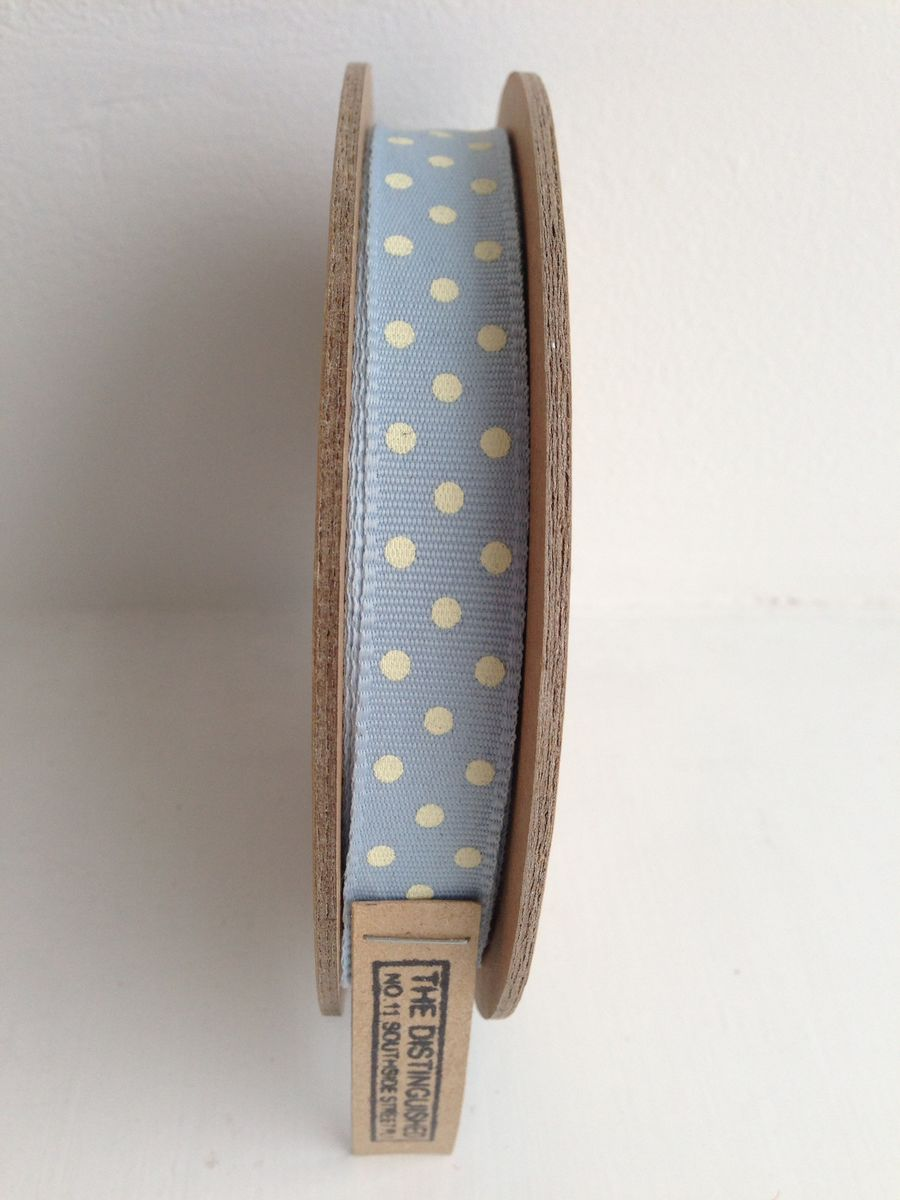 Cotton Pastel Blue with White spots Ribbon 1 meter by East Of India - product images  of