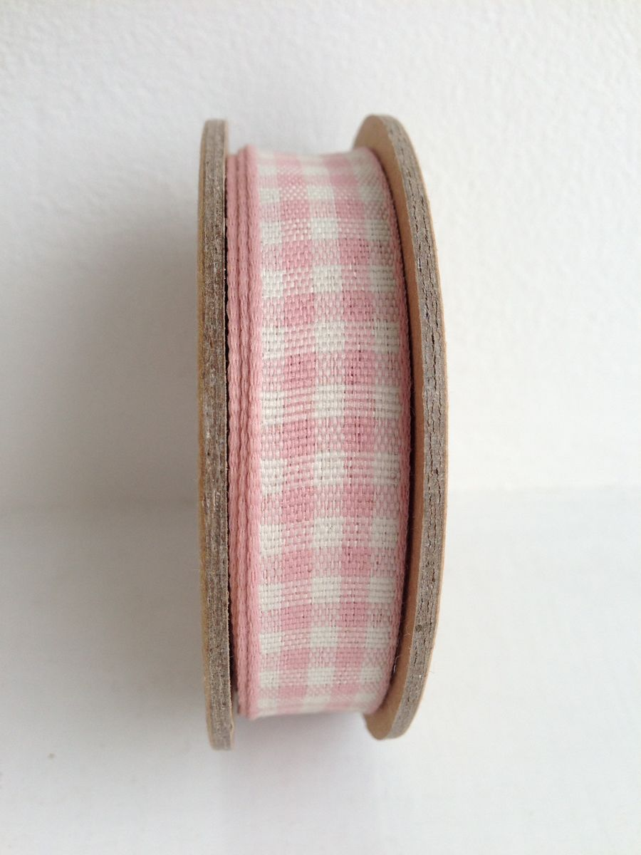 70% OFF Cotton Pastel pink and Off White Gingham Ribbon 3 metre spool by East Of India - product images  of