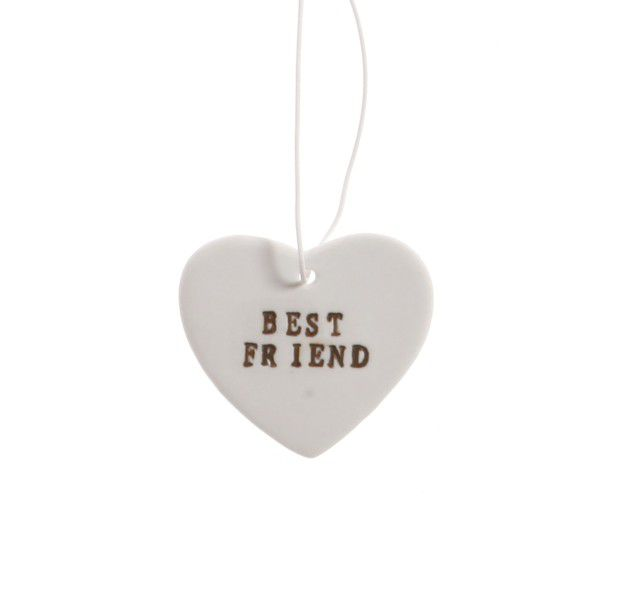Best Friend Ceramic Hanging Heart by Sass & Belle - product image