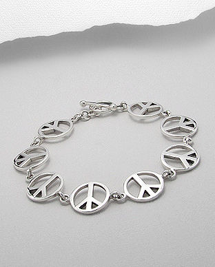 Sterling Silver Eternity Peace Symbol Bracelet - product image