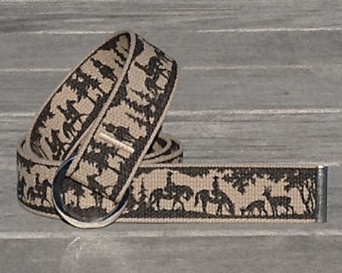 Women's,Belt,-,Trail,Riding.,Ebony,on,Sand,Trail riding, trail riding Print, trail riding belt, woman's belt, Belt, tan belt, fabric belt, canvas belt, vegan belt, plus size belt