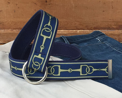 Women's,Belt,-,Gold,Bits,on,Navy.,1.5,Inches,Wide,navy bit belt, bit belt, woman's belt, Belt, gold and blue fabric belt, snaffle bit canvas belt, canvas belt, vegan belt, plus size belt