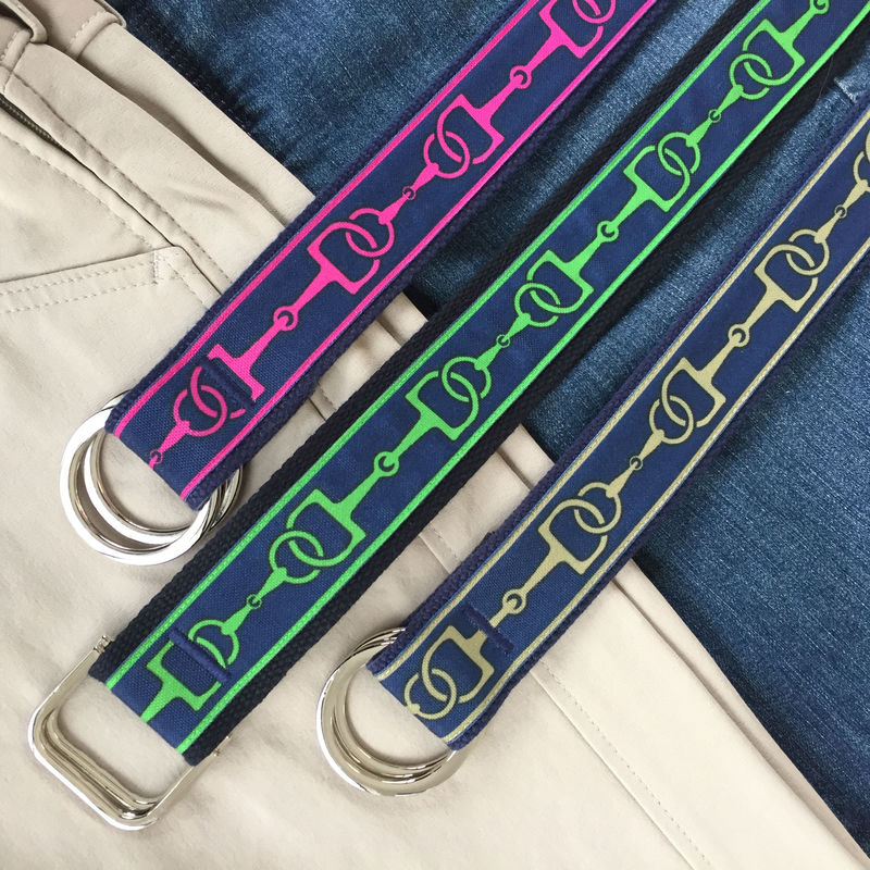 Women's Belt - Emerald Bits on Navy. 1.5 Inches Wide  - product images  of