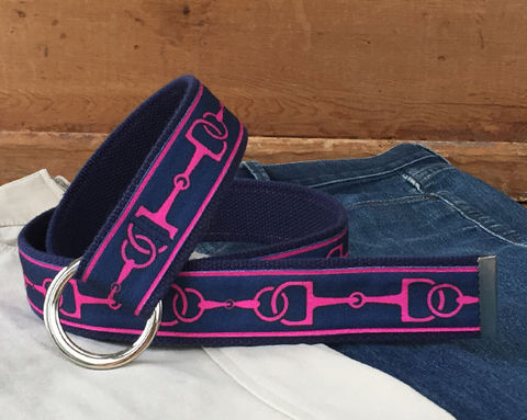 Women's,Belt,-,Hot,Pink,Bits,on,Navy.,1.5,Inches,Wide,navy bit belt, bit belt, woman's belt, Belt, hot pink and blue fabric belt, snaffle bit canvas belt, canvas belt, vegan belt, plus size belt