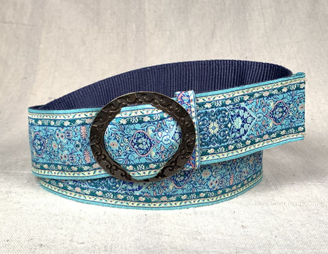 Turkish,Ribbon,Belt:,Sea,island,2 inch wide belt, turkish ribbon belt, Sea island, blue belt, seaglass belt, vegan belt, belt, turkish belt, woman's belt