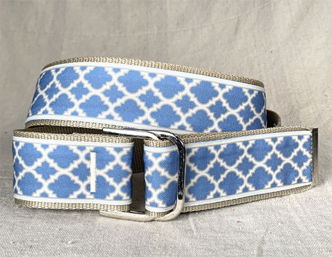 Women's,Belt,-,Moroccan,Lattice,Cornflower,Blue,equestrian belt, equestrian print belt, cornflower blue belt, blue belt, moroccan lattice belt, 2 inch belt 2 inch wide belt,woman's belt, Belt, tan belt, fabric belt, canvas belt, vegan belt, plus size belt