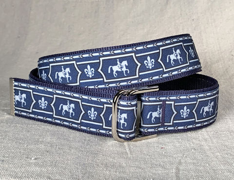 Women's,Belt,-,Blue,Dressage,1.5,inch,dressage print belt, blue dressage belt, dressage belt, equestrian belt, equestrian print belt, blue belt, inch and a half wide belt, 1.5 wide belt, woman's belt, Belt, tan belt, fabric belt, canvas belt, vegan belt, plus siz