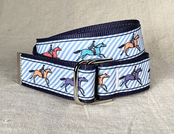 Women's Belt - Galloping Horses on blue pin stripe - product images