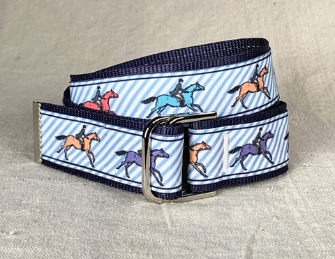 Women's,Belt,-,Galloping,Horses,on,blue,pin,stripe,galloping horses belt, horse belt, blue pin striped belt, equestrian belt, equestrian print belt, blue and white belt, inch and a half wide belt, 1.5 wide belt, woman's belt, Belt, fabric belt, canvas belt, vegan belt, plus size belt