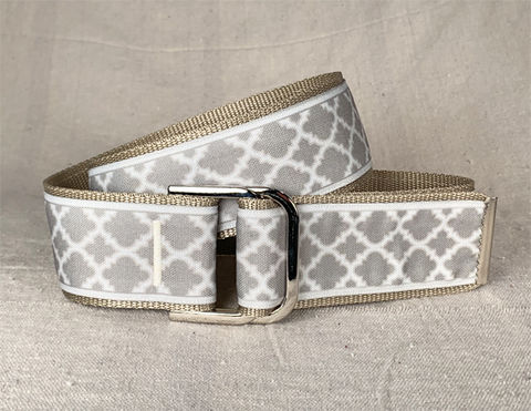 Women's,Belt,-,Tan,Moroccan,Lattice,2,inch,golf belt, equestrian belt, equestrian print belt, tan belt, beige belt, taupe belt, moroccan lattice belt, two inch wide belt, 2 wide belt, off white belt, cream belt, woman's belt, Belt, fabric belt, canvas belt, vegan belt, plus siz