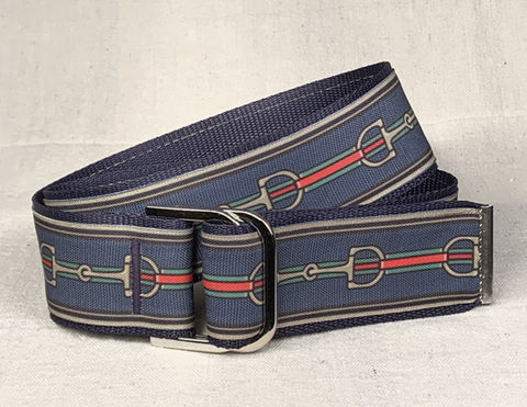Women's,Belt,-,2,Inch,Bits,on,Navy,equestrian belt, equestrian print belt, bit belt, Gucci bit belt, gold bit belt belt,  2 inch belt 2 inch wide belt, Bits, Horse bits, snaffle bits, Dr. Bristol bit Print, woman's belt, Belt, tan belt, fabric belt, canvas belt, vegan belt
