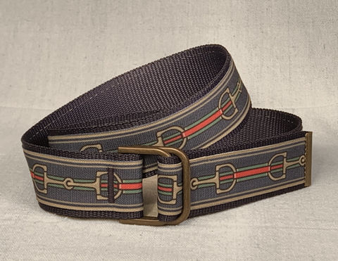 Women's,Belt,-,Inch,and,a,half,wide,Bits,on,Navy,equestrian belt, equestrian print belt, bit belt, Gucci bit belt, gold bit belt belt,  inch and a half belt, Bits, Horse bits, snaffle bits,  woman's belt, Belt, tan belt, fabric belt, canvas belt, vegan belt
