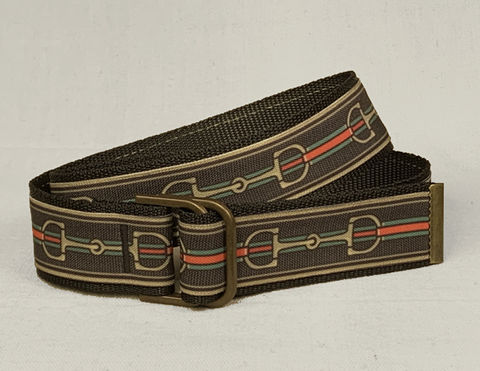 Women's,Belt,-,Inch,and,a,half,wide,Bits,on,Black,equestrian belt, equestrian print belt, bit belt, Gucci bit belt, gold bit belt belt,  inch and a half belt, Bits, Horse bits, snaffle bits,  woman's belt, Belt, tan belt, fabric belt, canvas belt, vegan belt