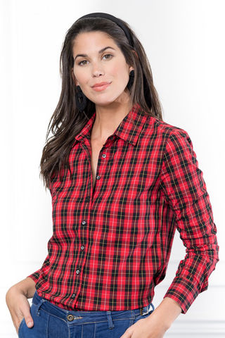 Shirt,-,Red,and,Black,Buffalo,Tartan,The shirt by Rochelle Behrens, red and black plaid shirt, red and black buffalo checked shirt, red tartan shirt, button down shirt, preppy shirt, woman's button-down shirt, woman's long sleeved shirt