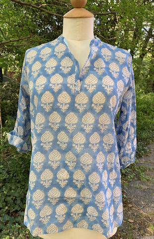 Dolma,Cream,Flowers,on,Blue,Tunic,Dolma Tunics, blue wildflower tunic, blue and white tunic, beach coverup, preppy tunic, woman's tunic, paisley tunic, boho tunic