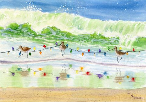 Where's,That,Tree?,Christmas,cards,Sandpipers Card, christmas lights,ocean,beach,waves,sand,seashore,beach painting,watercolor