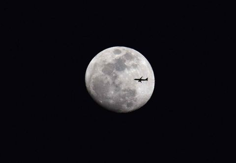 Fly,Me,to,the,Moon,Full moon, airplane, flying at night,  Moon, night sky, travel, flying, home decor, nature