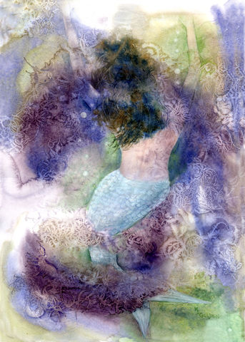 My,Second,Mermaid,Giclée print, seashore home decor, mermaid swimming, watercolor painting, seascape, blues, green, purples, abstract technique, undersea print