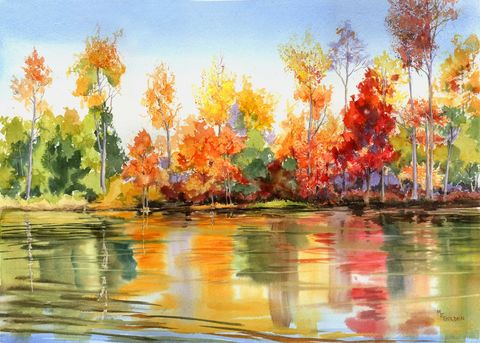 Autumn,Glow, fall trees, river reflections, red, yellow, orange,