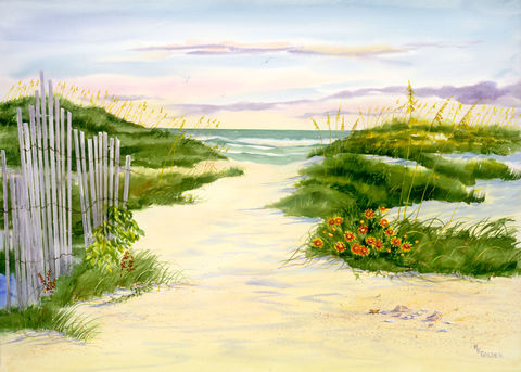 Home,to,the,Sea,Original Watercolor, seashore painting, seascape home decor, ocean and sand dunes, gaillardia, sand fence