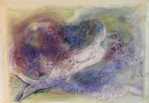 My,First,Mermaid,Original watercolor, mermaid painting, seashore home decor, blues, greens, and purples, mermaid swimming