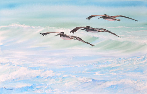 Coasting,original,watercolor,Pelicans, ocean, original watercolor, Mary Ellen Golden, Wrightsville Beach