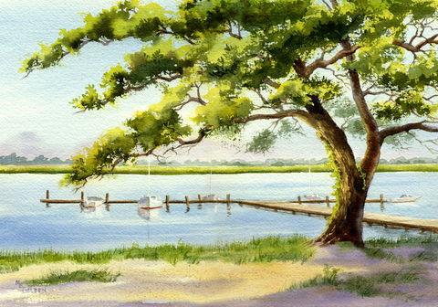 Edgewater,giclee print, Wrightsville Beach, dock on the waterway, Edgewater dock, coastal art decor, green, blue