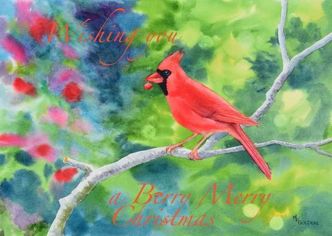 Berry,Merry,Christmas,Card,Christmas Card, cardinal, holiday card, greeting card,