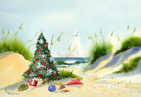 Christmas,at,the,Beach,Cards,Christmas cards, christmas tree, coastal christmas, blue crab, crabby claus,original artist