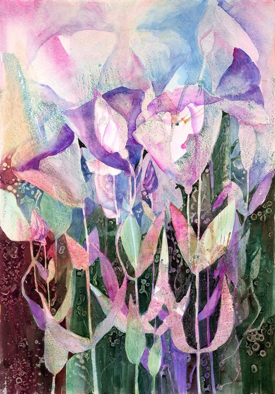 Spring Dance Abstract Floral giclee print from original watercolor - product images