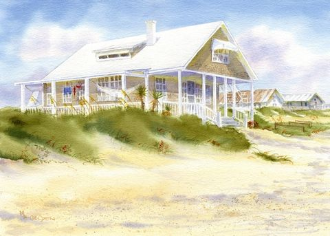 Summer,Pleasures,Revisited,beach,cottage,Art,Print,Giclee,watercolor,seashore,painting,landscape,reproduction,giclee,justbeachy_team,wweteam,seascape,dunes,596dc64b24,paper,ink