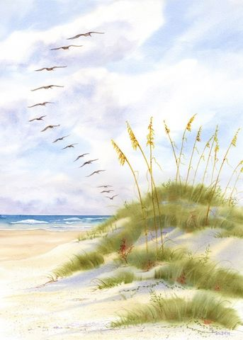 Pelican,Parade,Art,Print,Giclee,painting,watercolor,seascape,pelicans,sand_dunes,ocean,flight,clouds,parade,wweteam,justbeachy_team,inks,arches hotpress paper