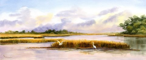 Marsh,Dance,Art,Print,Giclee,marsh,reproduction,giclee,painting,watercolor,sunset,egrets,bird,seashore,landscape,justbeachy_team,wweteam,coastal,paper,ink