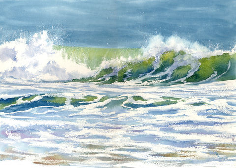 Cresting,Wave,Art,Print,Giclee,waves,ocean,blue,green,surf,crashing,spindrift,ocracoke_island,beach,seascape,inks,arches watercolor paper