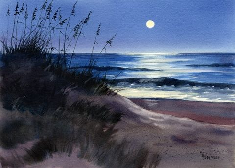 Silent,Night,Art,Print,Giclee,watercolor,moon,ocean,seashore,landscape,painting,night,seascape,coastal,giclee,beach_paintiing,moonscape,paper,ink