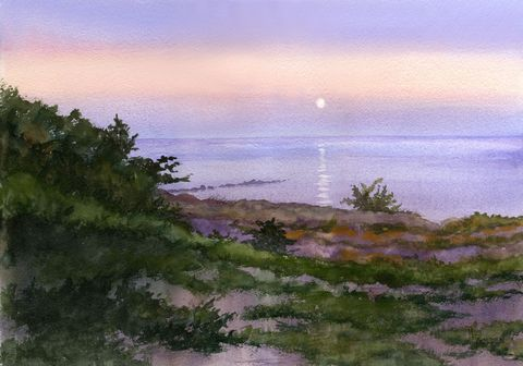 Moonset,Art,Print,Giclee,seascape,moon,ocracoke_island,beach,moonlight,night,setting_moon,green,golden,lavender,inks,hotpress arches paper