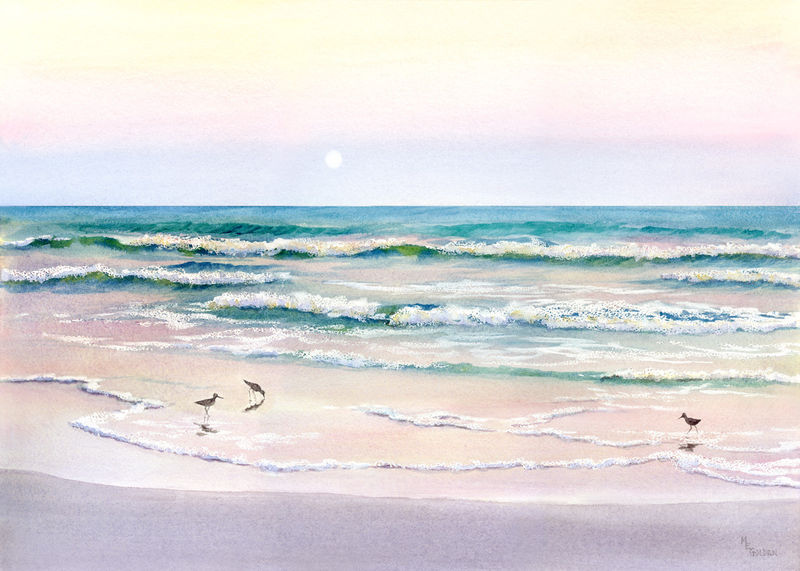 Moonrise Giclee of beach with sandpipers - product images