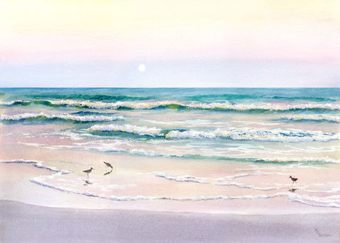Moonrise,Giclee,of,beach,with,sandpipers,Art,Print,beach_painting,seascape,turquoise,pink,waves,moonrise,moon,seashore,giclee,watercolor paper,inks