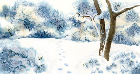January,Snow,giclee,print,with,footprints,in,the,snow,Art,Reproduction,Giclee,white_winter,snowy_trees,branches_with_snow,january_snow,NC_snow,snowscape,inks and watercolor paper