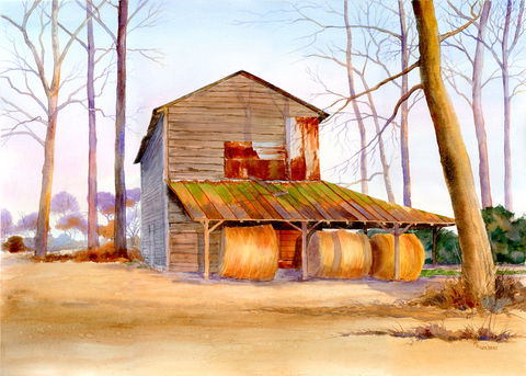 Golden,Harvest,of,hay,bales,under,tobacco,barn,in,winter,Art,Print,Giclee,tobacco_barn,rusty_tin,green,gold,lavender_shadows,slab_sided,purple,rust,farm_scene,watercolor,giclee,inks,paper